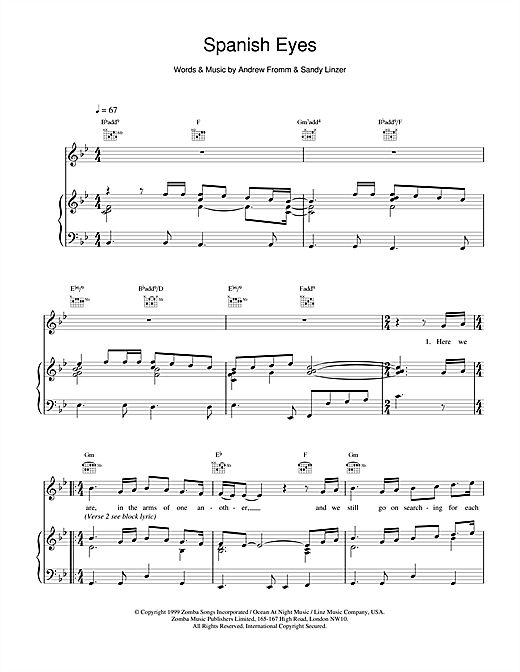 Backstreet Boys Spanish Eyes sheet music notes printable PDF score