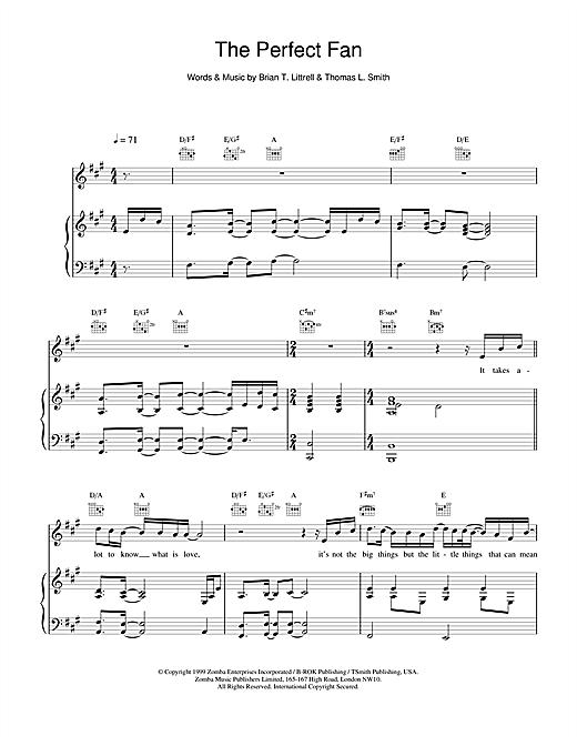 Backstreet Boys The Perfect Fan sheet music notes printable PDF score