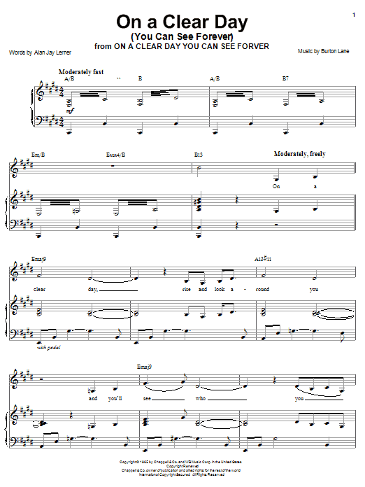 Barbra Streisand On A Clear Day (You Can See Forever) sheet music notes and chords. Download Printable PDF.