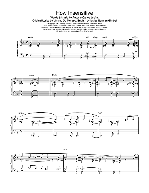 Barry Harris How Insensitive sheet music notes printable PDF score