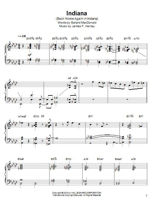 Barry Harris Indiana (Back Home Again In Indiana) sheet music notes and chords. Download Printable PDF.