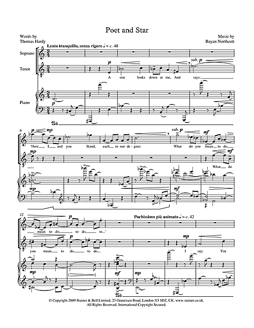 Bayan Northcott Poet and Star (for soprano, tenor & piano) sheet music notes printable PDF score