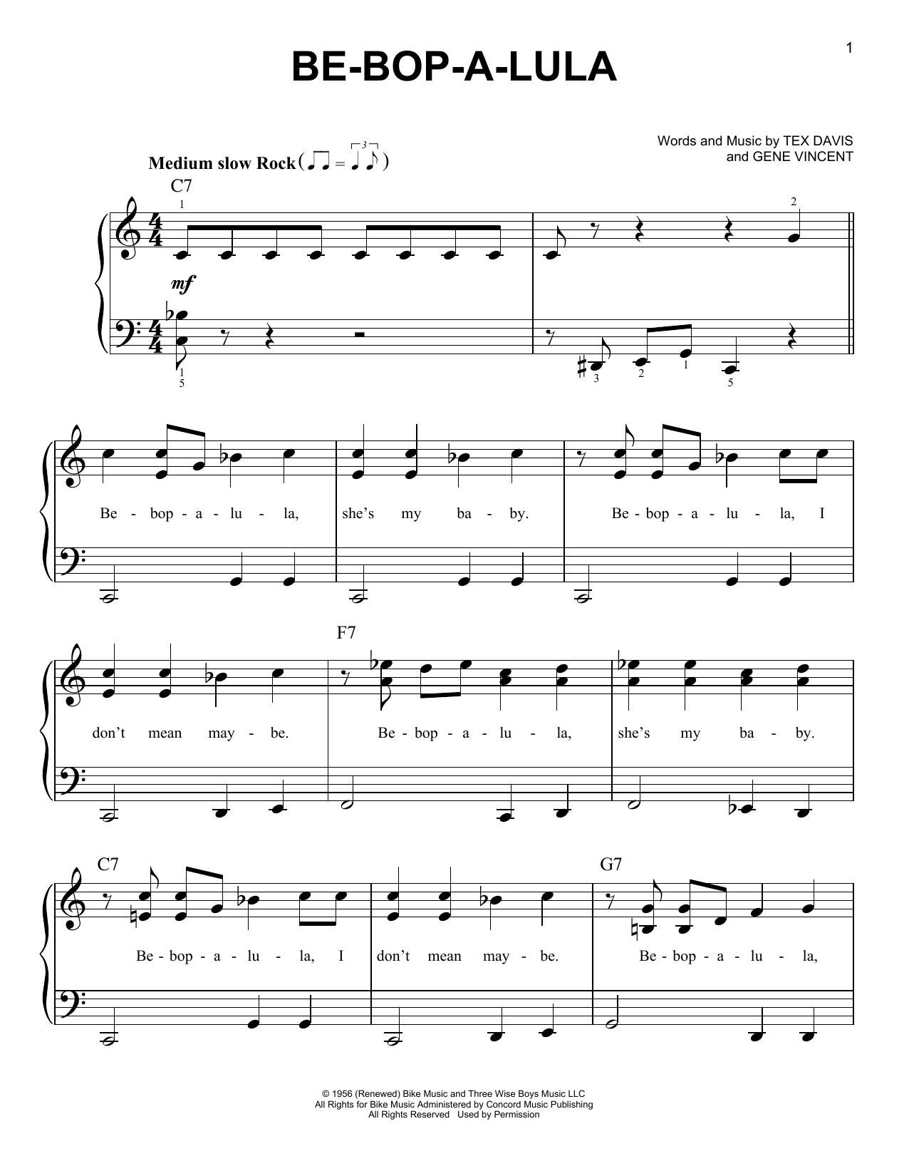 Gene Vincent Be-Bop-A-Lula sheet music notes printable PDF score