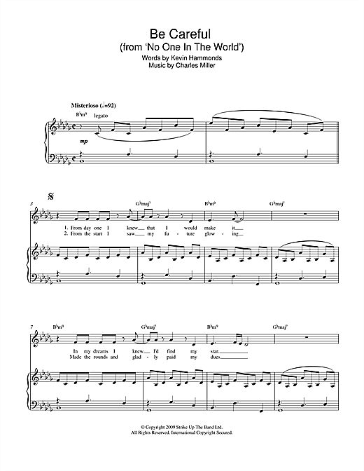 Charles Miller & Kevin Hammonds Be Careful (from No One In The World) sheet music notes printable PDF score