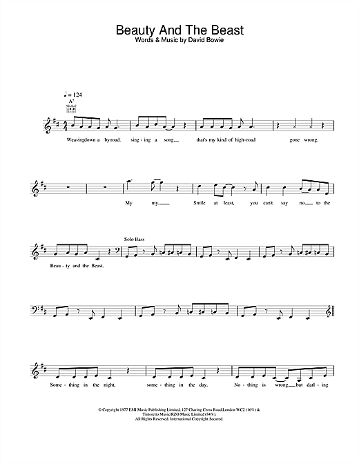 David Bowie Beauty And The Beast sheet music notes printable PDF score