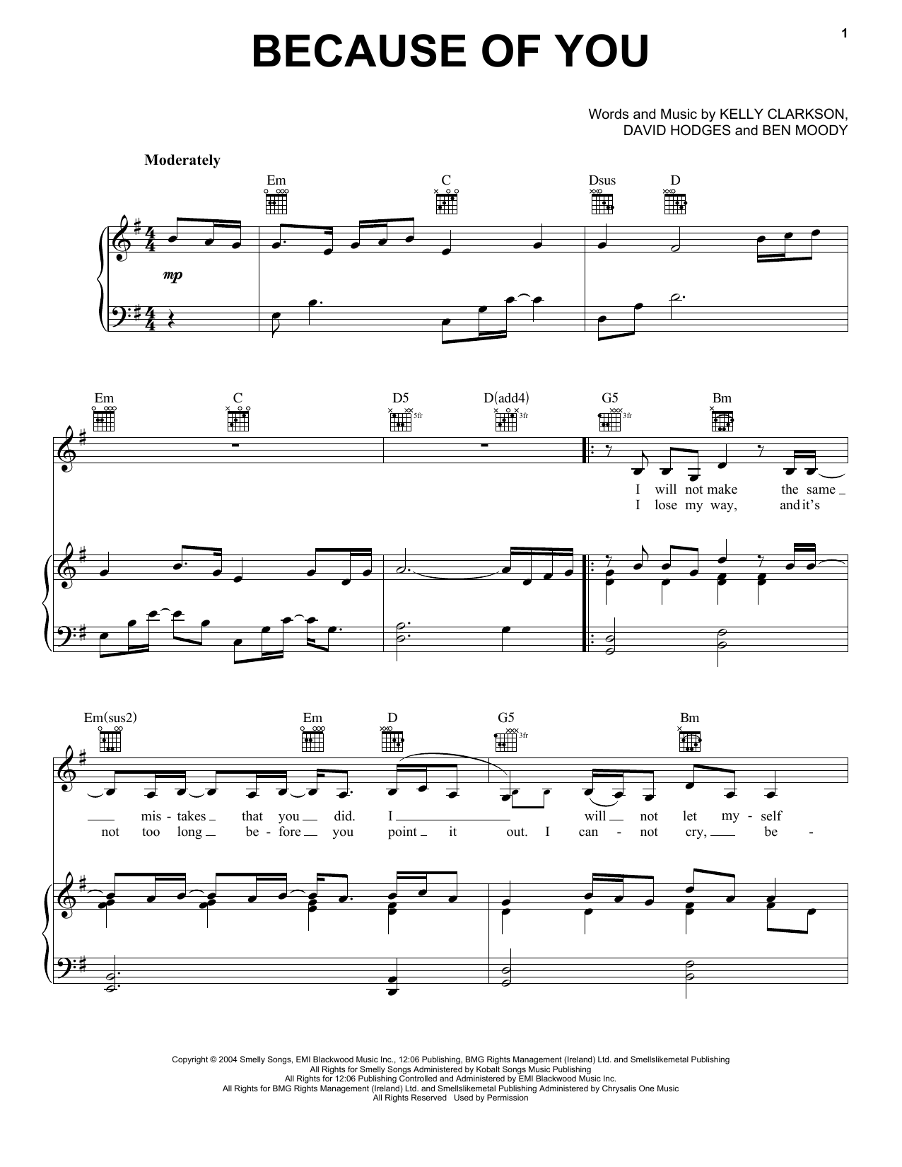 Kelly Clarkson Because Of You sheet music notes printable PDF score