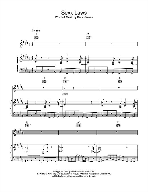 Beck Sexx laws sheet music notes printable PDF score