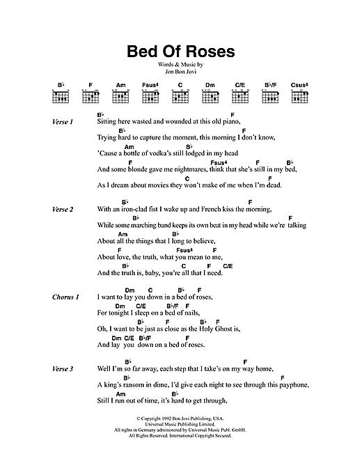 Bon Jovi Bed Of Roses sheet music notes printable PDF score