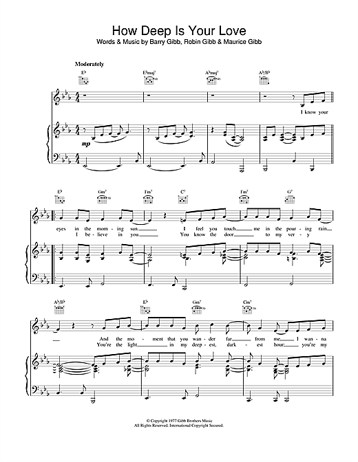 Bee Gees How Deep Is Your Love sheet music notes and chords. Download Printable PDF.