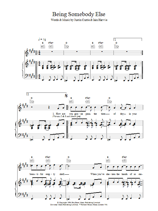 Del Amitri Being Somebody Else sheet music notes printable PDF score