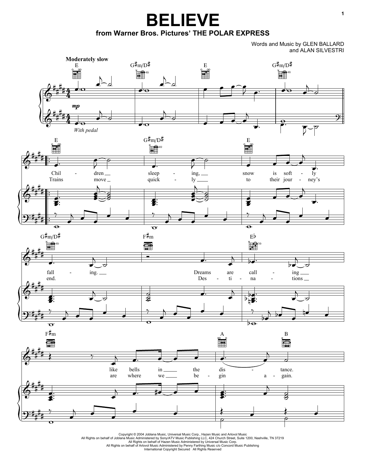 Josh Groban Believe sheet music notes printable PDF score