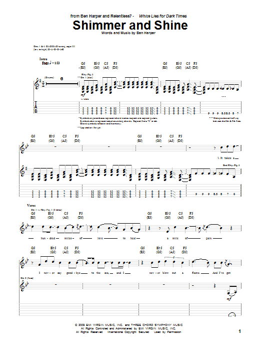 Ben Harper and Relentless7 Shimmer And Shine sheet music notes and chords. Download Printable PDF.