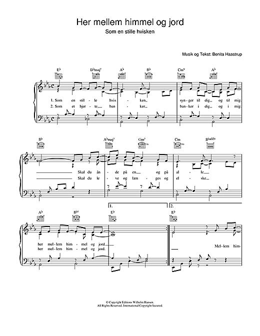 Benita Haastrup Her Mellem Himmel Og Jord sheet music notes printable PDF score