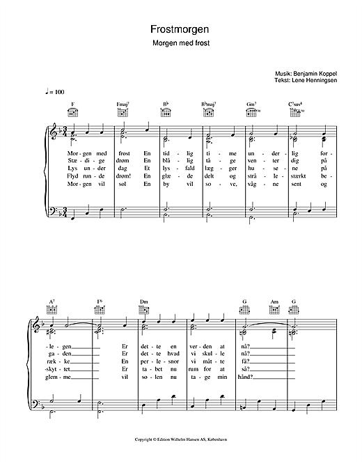 Benjamin Koppel Frostmorgen sheet music notes printable PDF score