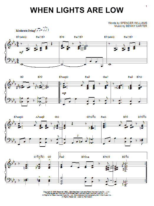 Benny Carter When Lights Are Low (arr. Brent Edstrom) sheet music notes and chords. Download Printable PDF.