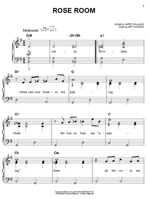 Benny Goodman Rose Room sheet music notes and chords. Download Printable PDF.