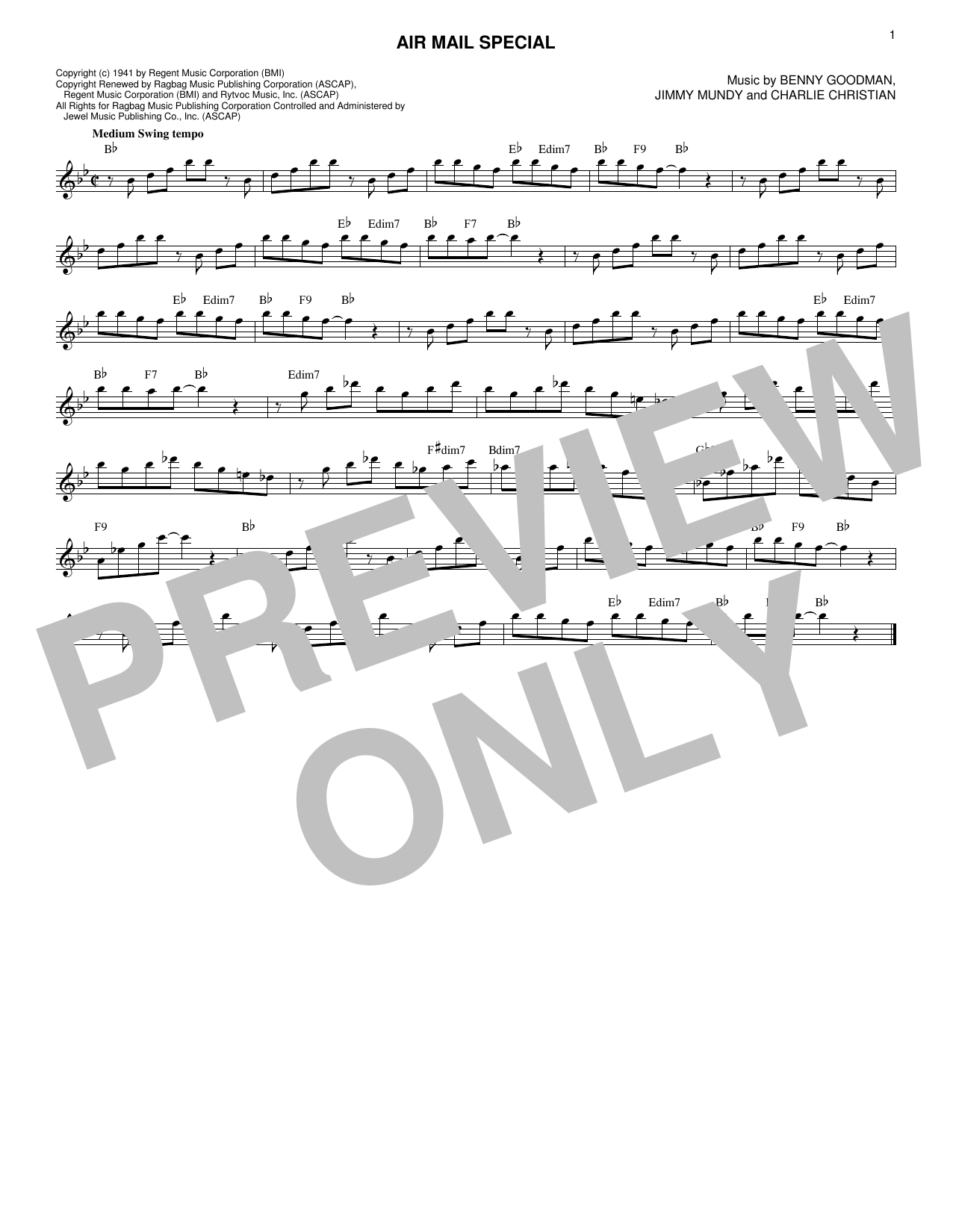 Benny Goodman & His Orchestra Air Mail Special sheet music notes and chords. Download Printable PDF.