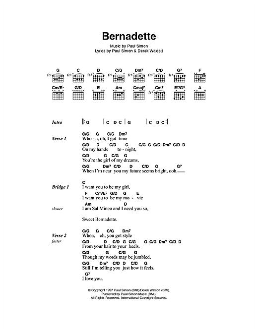 Paul Simon Bernadette sheet music notes printable PDF score