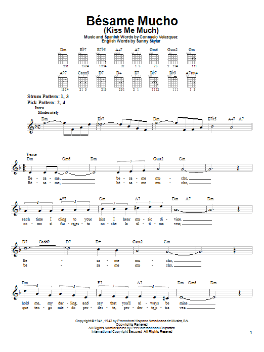 Consuelo Velazquez Besame Mucho (Kiss Me Much) sheet music notes printable PDF score