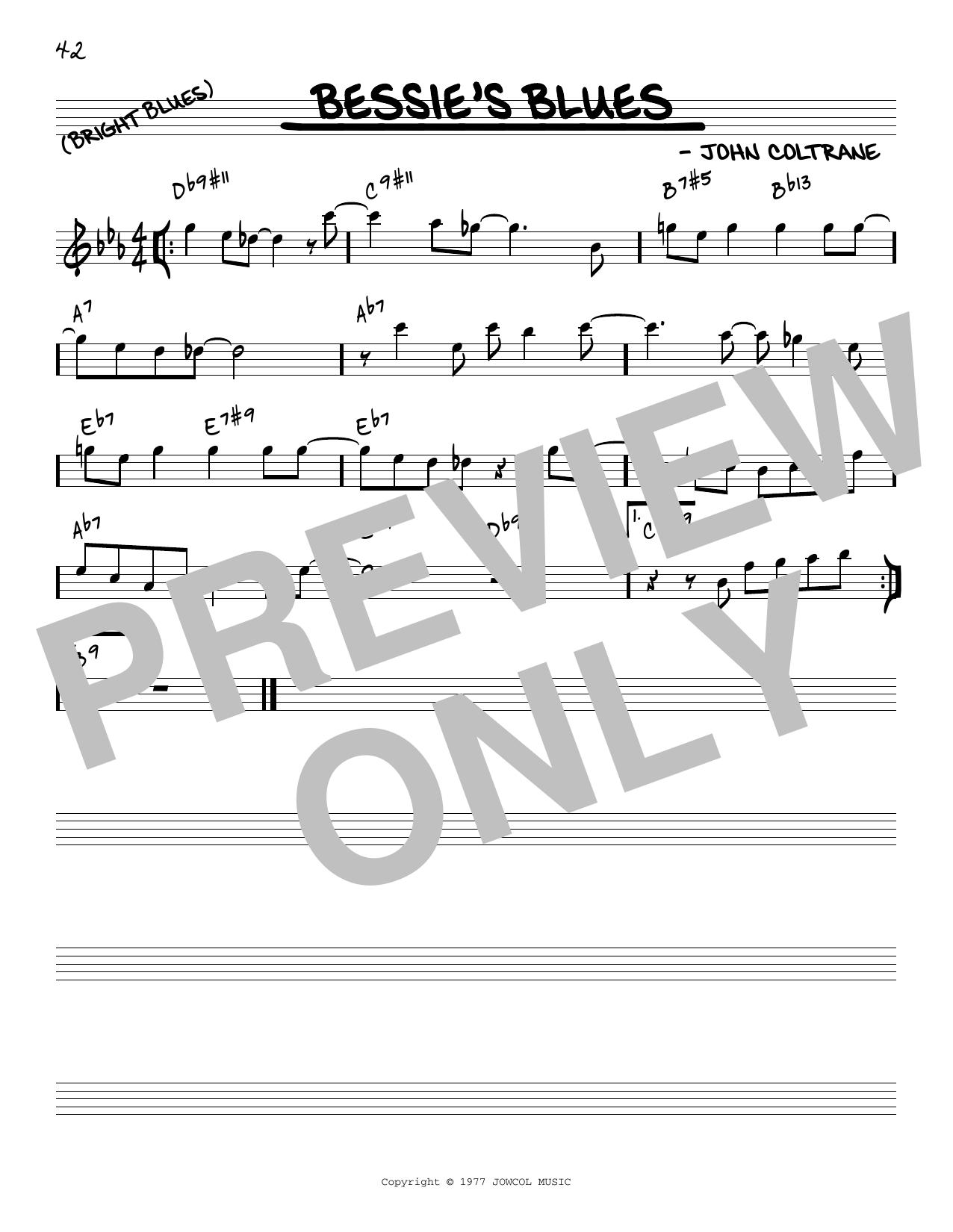John Coltrane Bessie's Blues [Reharmonized version] (arr. Jack Grassel) sheet music notes printable PDF score