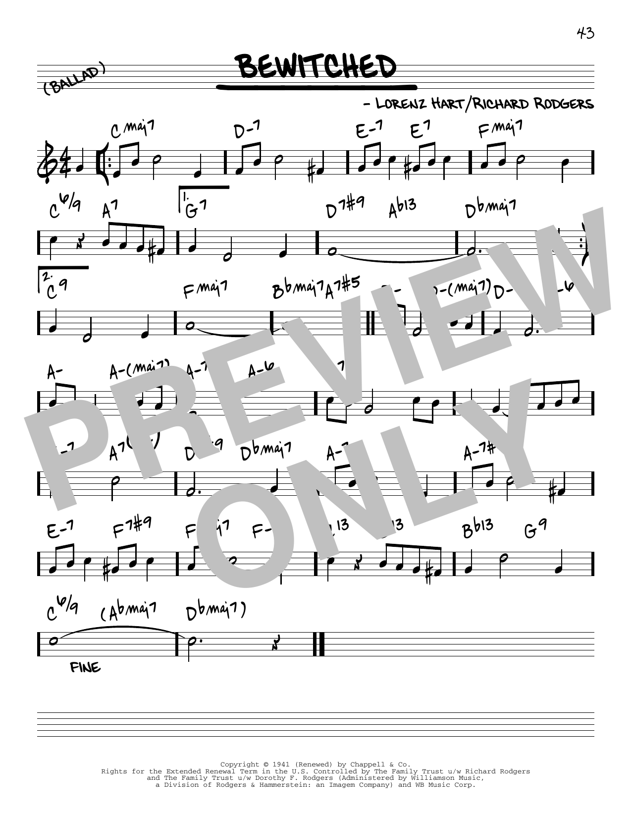 Rodgers & Hart Bewitched [Reharmonized version] (arr. Jack Grassel) sheet music notes printable PDF score