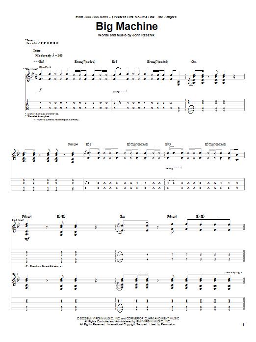 Goo Goo Dolls Big Machine sheet music notes printable PDF score