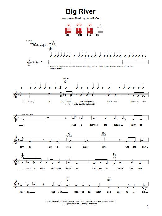 Johnny Cash Big River sheet music notes printable PDF score