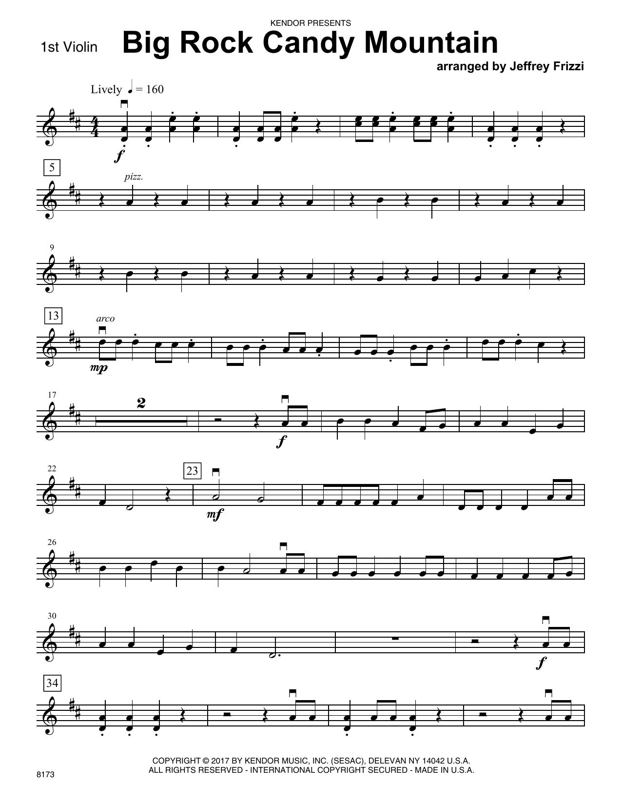 Jeffrey Frizzi Big Rock Candy Mountain - 1st Violin sheet music notes printable PDF score