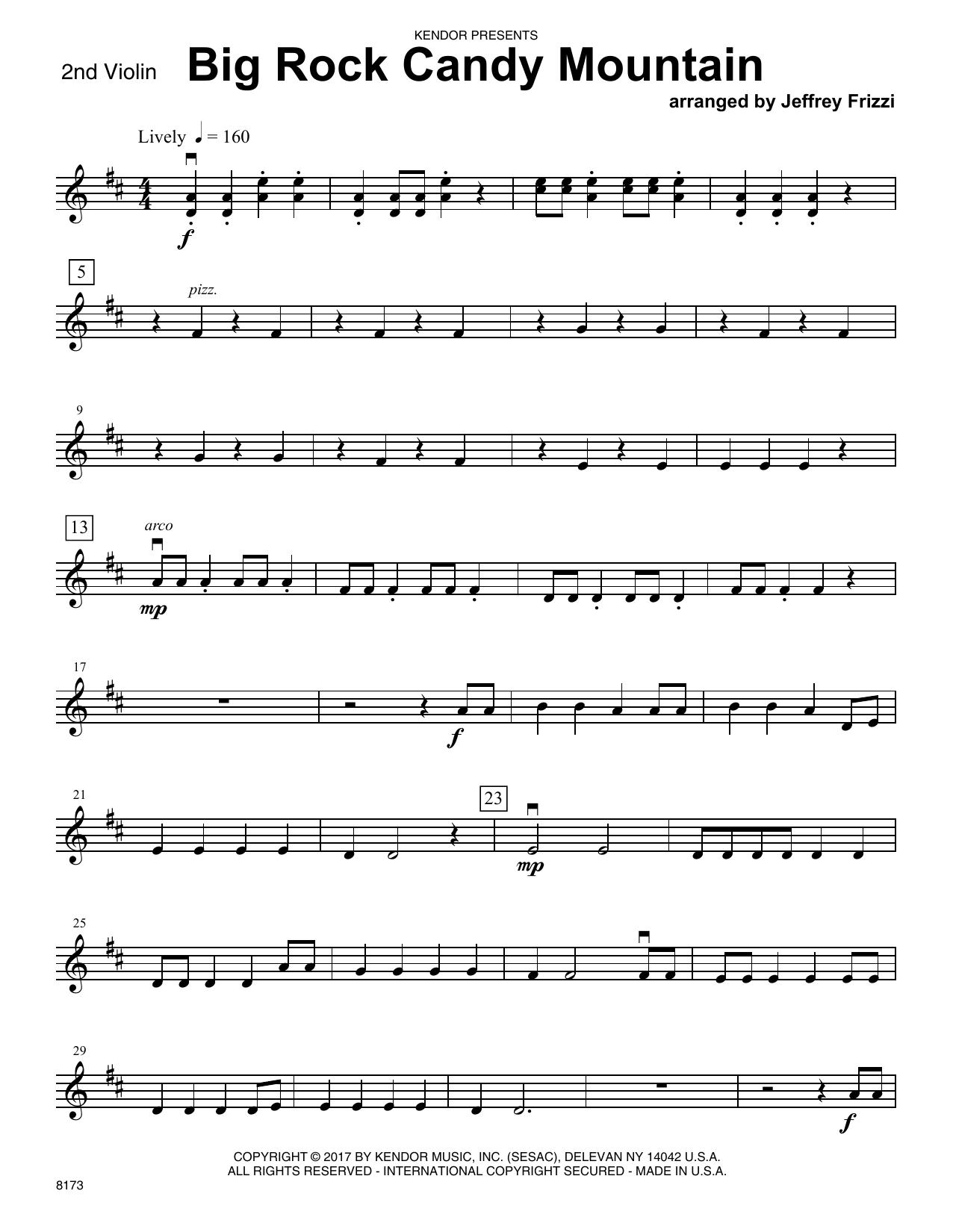 Jeffrey Frizzi Big Rock Candy Mountain - 2nd Violin sheet music notes printable PDF score