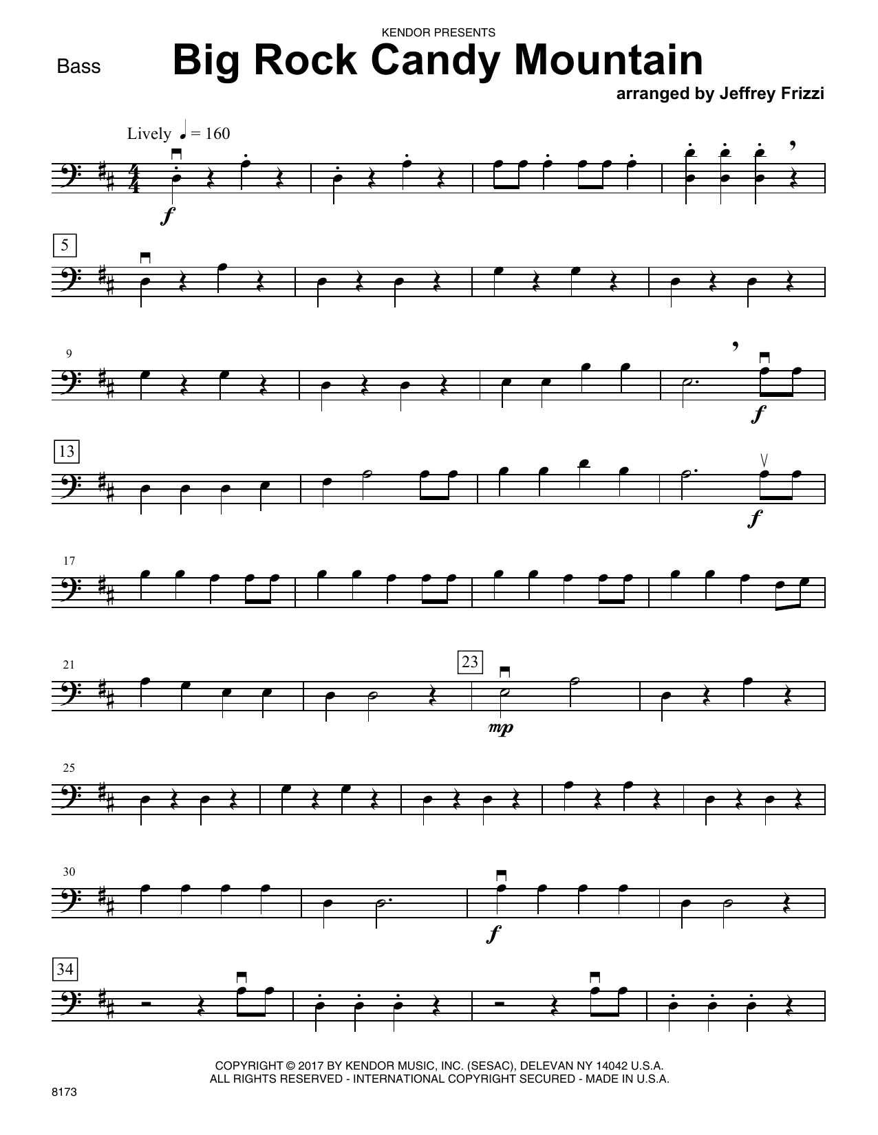 Jeffrey Frizzi Big Rock Candy Mountain - Bass sheet music notes printable PDF score