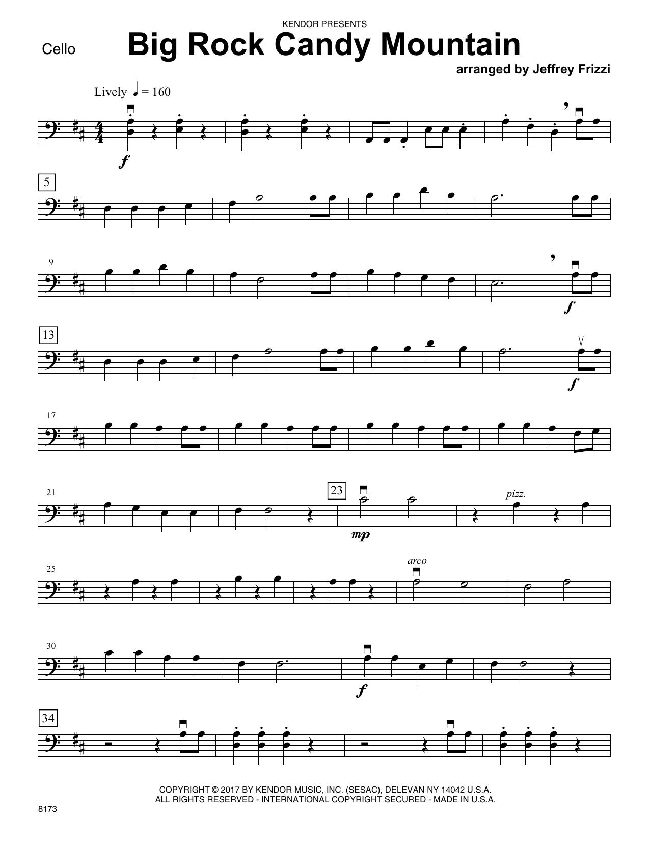 Jeffrey Frizzi Big Rock Candy Mountain - Cello sheet music notes printable PDF score