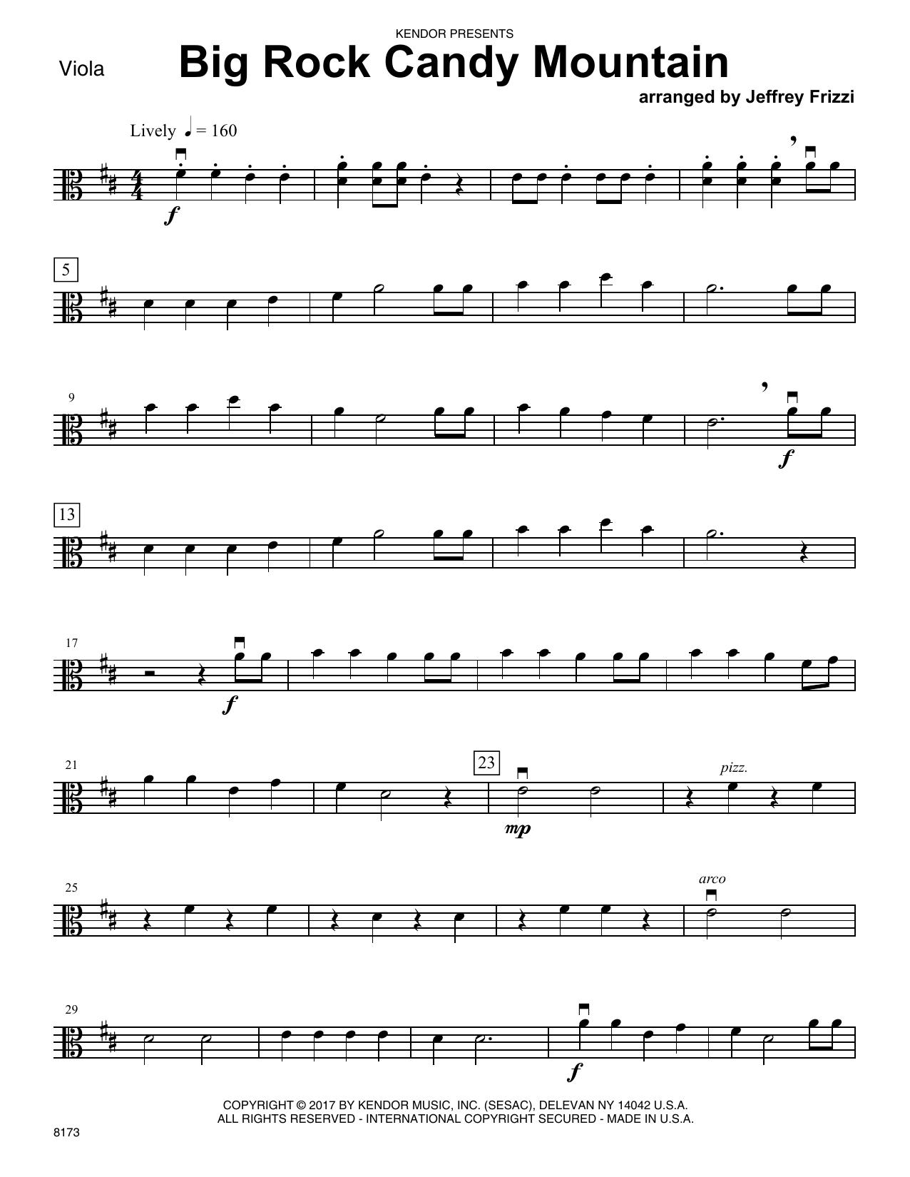Jeffrey Frizzi Big Rock Candy Mountain - Viola sheet music notes printable PDF score