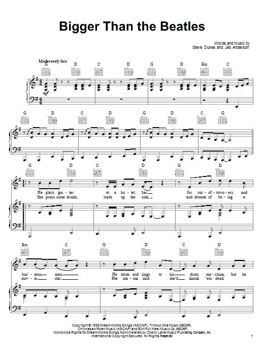 Joe Diffie Bigger Than The Beatles sheet music notes printable PDF score