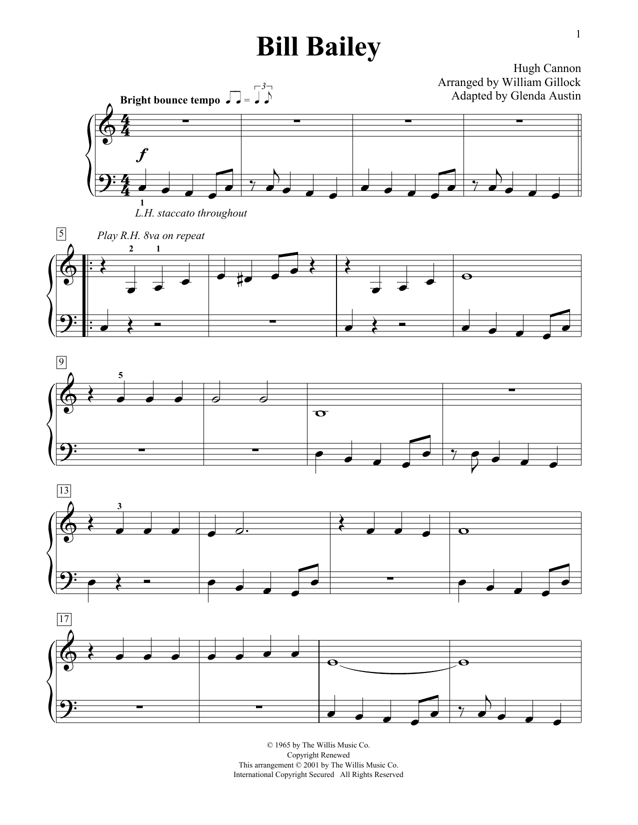 William Gillock Bill Bailey (Simplified) (adapted by Glenda Austin) sheet music notes printable PDF score