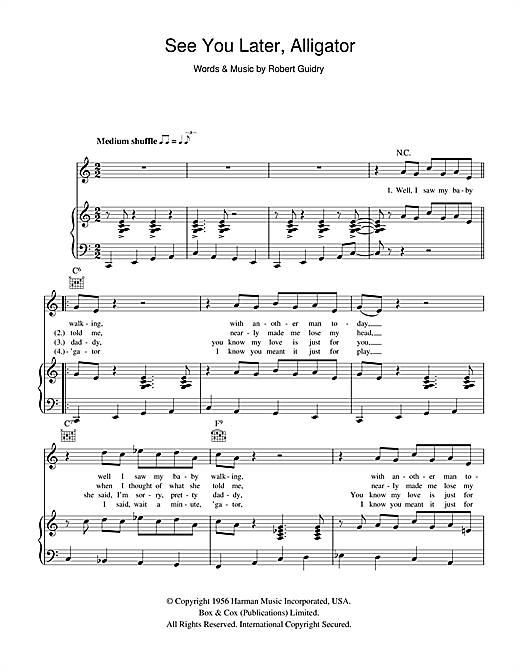 Bill Haley See You Later, Alligator sheet music notes and chords. Download Printable PDF.