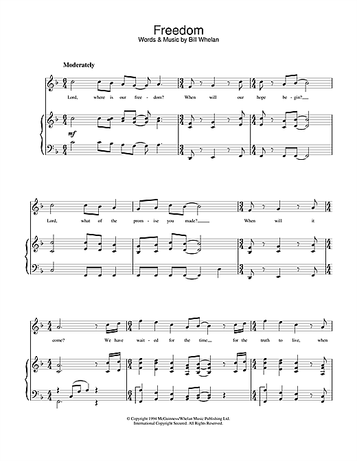 Bill Whelan Freedom (from Riverdance) sheet music notes printable PDF score
