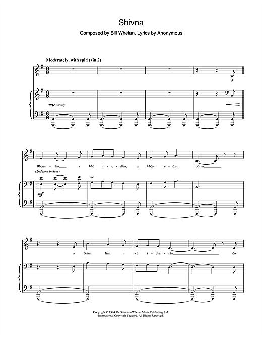 Bill Whelan Shivna (from Riverdance) sheet music notes printable PDF score