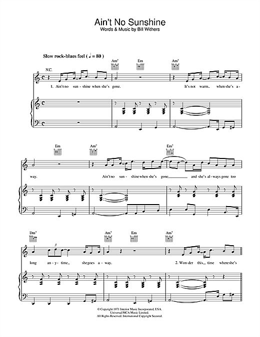Bill Withers Ain't No Sunshine sheet music notes and chords. Download Printable PDF.