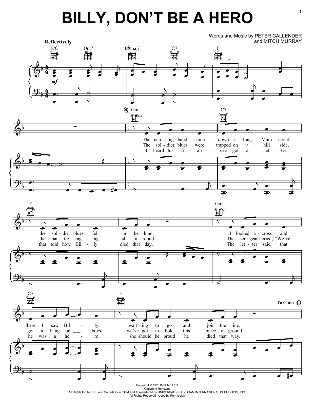 Bo Donaldson & The Heywoods Billy, Don't Be A Hero sheet music notes printable PDF score