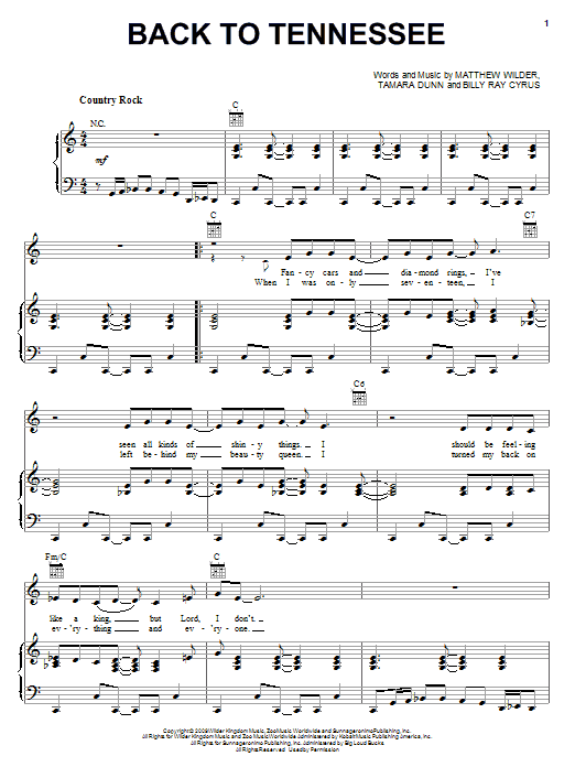 Billy Ray Cyrus Back To Tennessee sheet music notes and chords. Download Printable PDF.