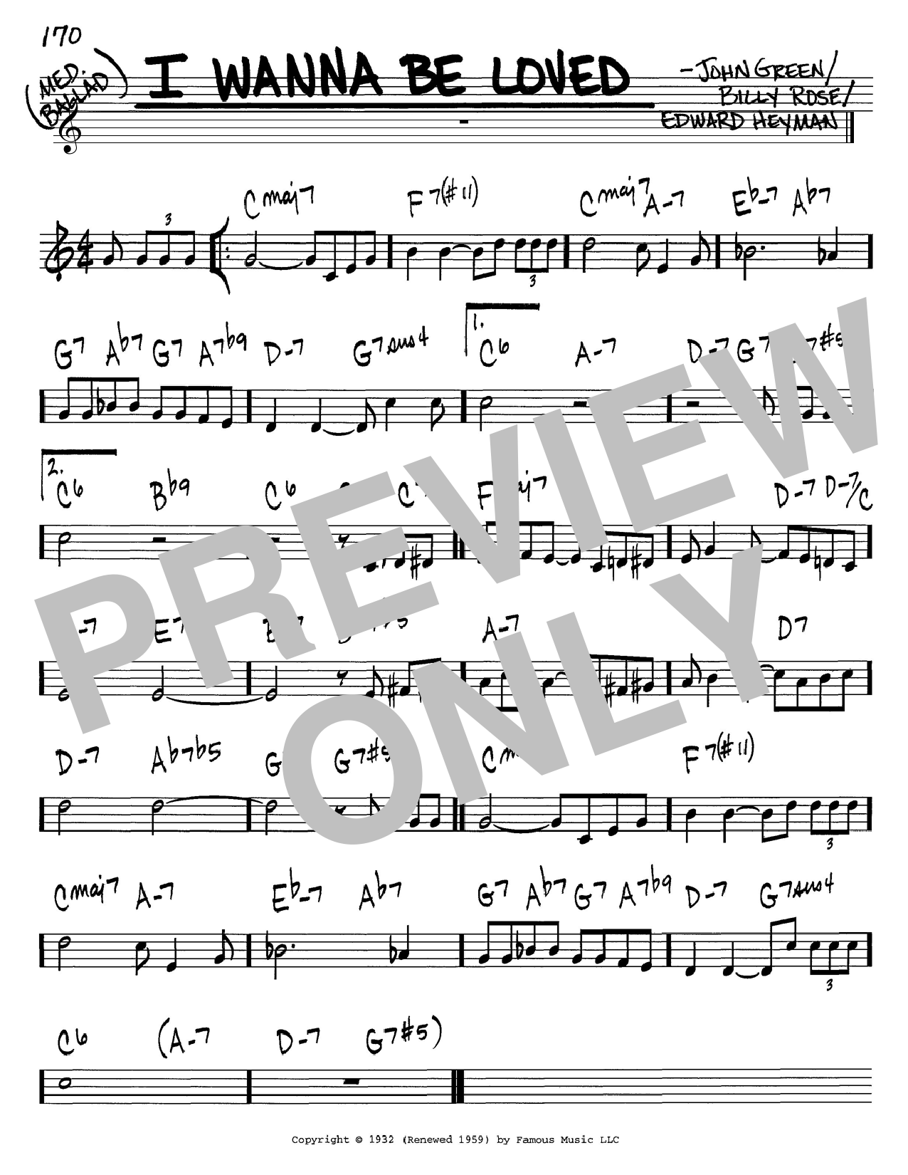 Billy Rose I Wanna Be Loved sheet music notes and chords. Download Printable PDF.