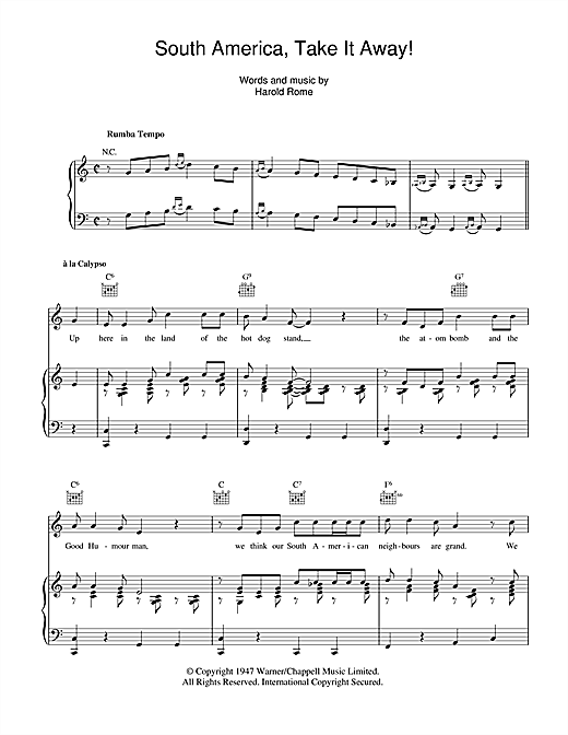 Bing Crosby South America, Take It Away! sheet music notes and chords - download printable PDF.