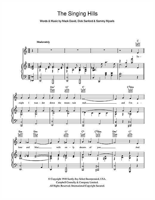 Bing Crosby The Singing Hills sheet music notes and chords. Download Printable PDF.
