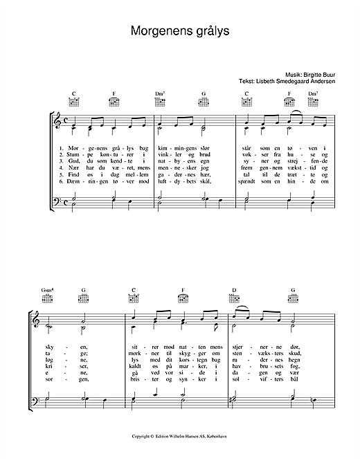 Birgitte Buur Morgenens Grålys sheet music notes printable PDF score
