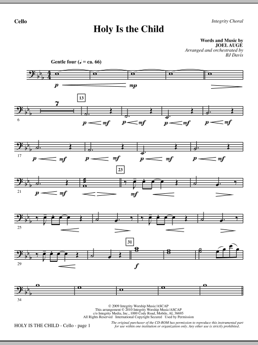 BJ Davis Holy Is The Child - Cello sheet music notes printable PDF score
