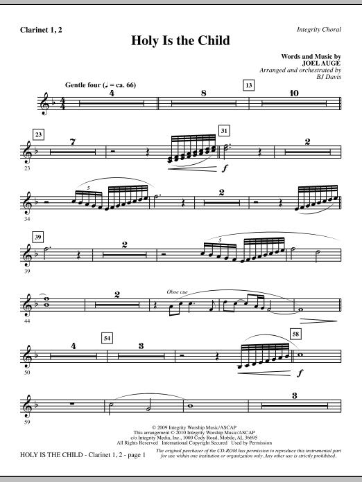 BJ Davis Holy Is The Child - Clarinet 1 & 2 sheet music notes printable PDF score