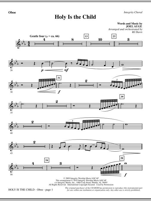 BJ Davis Holy Is The Child - Oboe sheet music notes printable PDF score