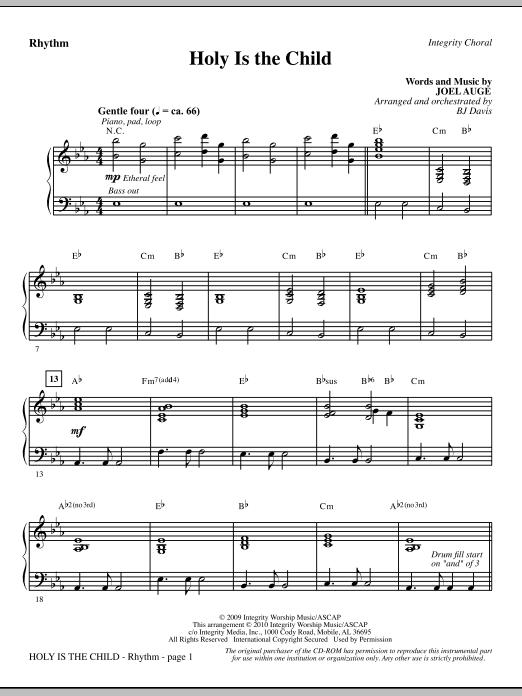 BJ Davis Holy Is The Child - Rhythm sheet music notes printable PDF score