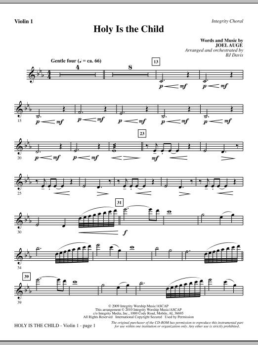 BJ Davis Holy Is The Child - Violin 1 sheet music notes printable PDF score