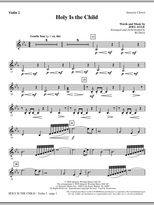 BJ Davis Holy Is The Child - Violin 2 sheet music notes printable PDF score